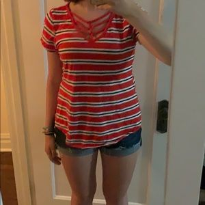 Maurices Red Striped Shirt with Neck Detail